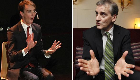 Jonas Gahr Støres son Vetle, left, and the Foreign Minister himself, right. Photo: VG
